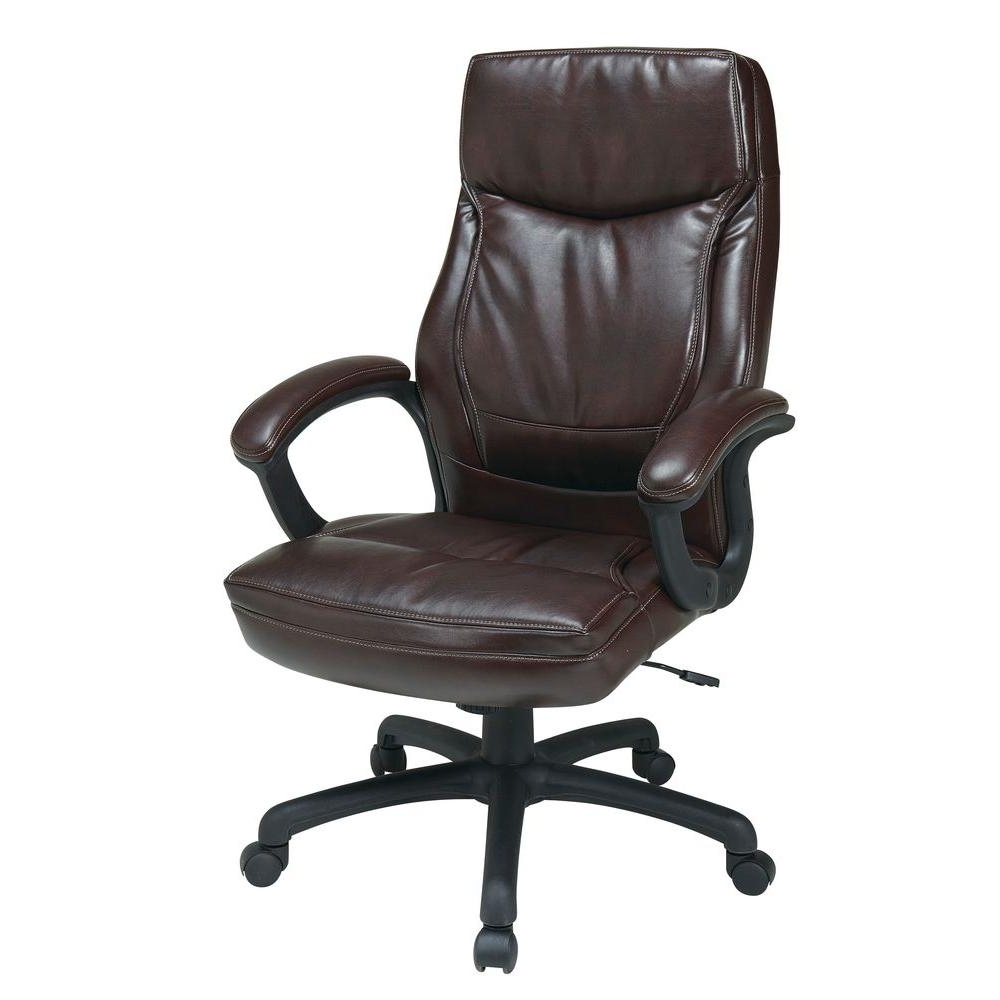 Popular Genuine Leather Executive Office Chairs Intended For Work Smart Mocha Eco Leather High Back Executive Office Chair (View 17 of 20)