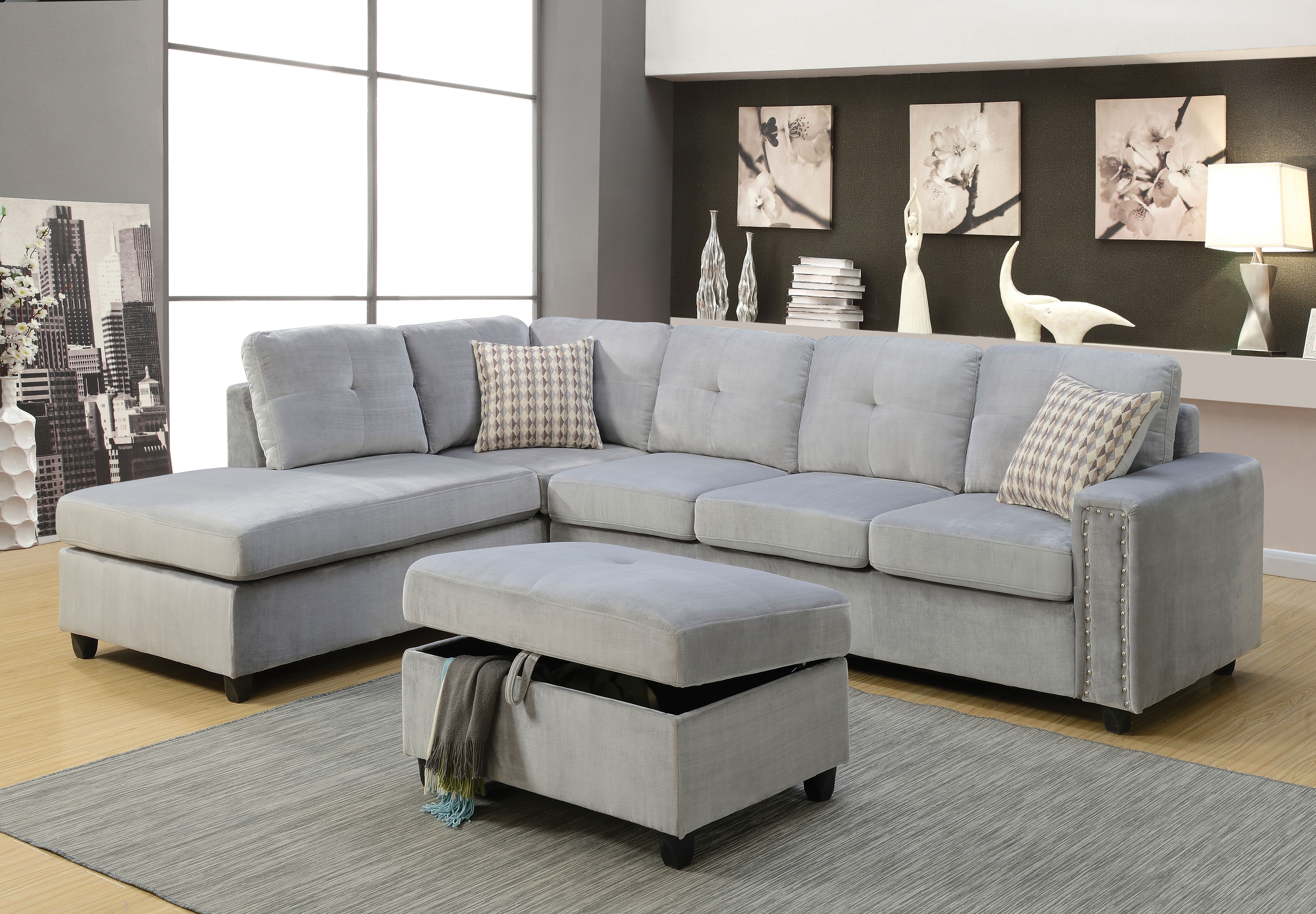 Popular Gray Sectional Sofa Plus Also Modular Couch Plus Also Microsuede With Microsuede Sectional Sofas (View 18 of 20)