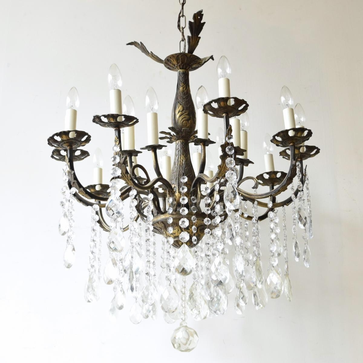 Popular Large Vintage French 16 Light Brass Chandelier For Sale At Pamono With Vintage French Chandeliers (View 4 of 20)