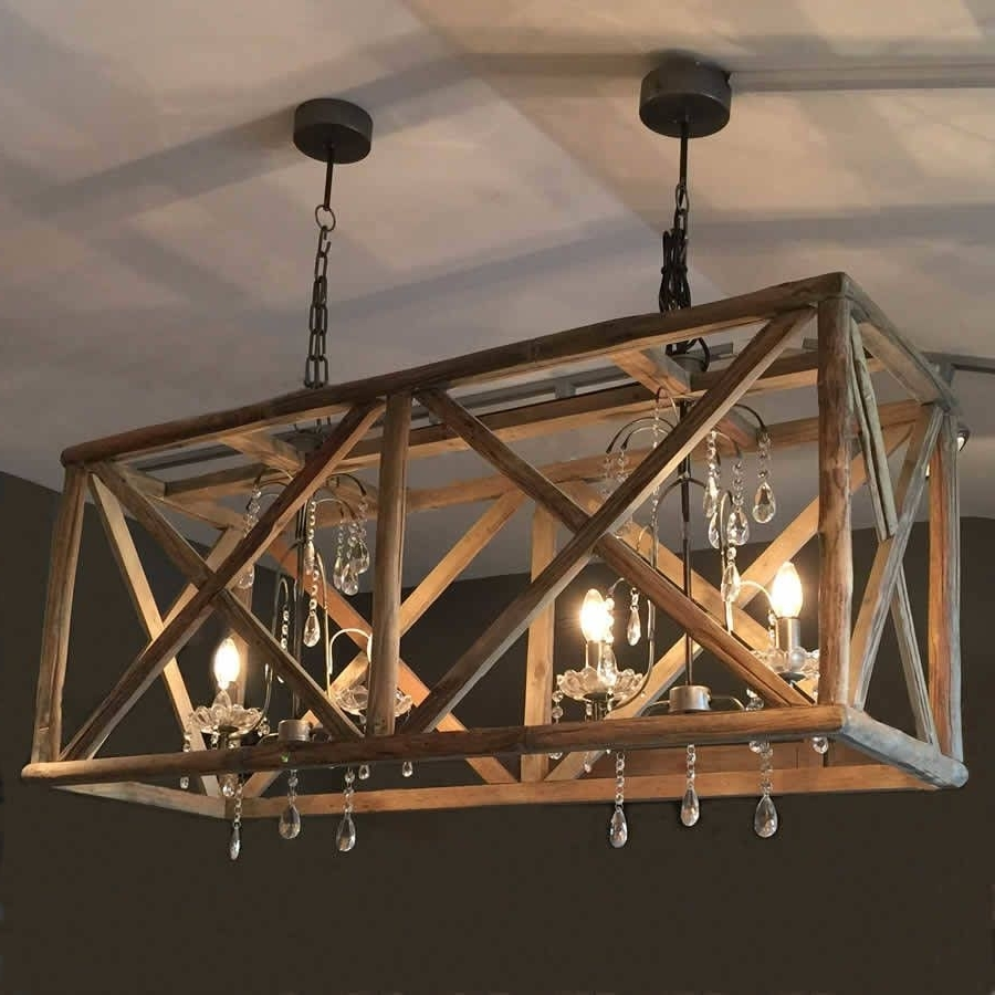 Popular Large Wooden Chandelier With Metal And Crystal (View 2 of 20)