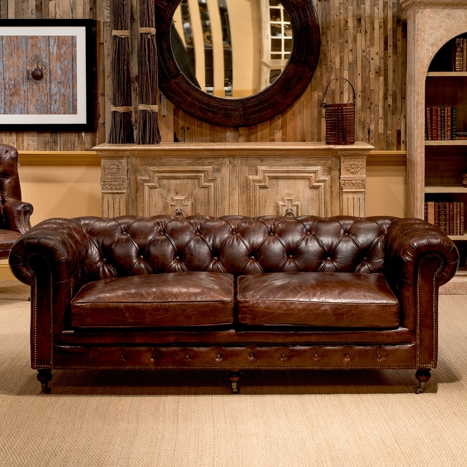Popular Leather Chesterfield Sofas Within Castered Chesterfield Sofa , Sarreid Ltd Portal ! (View 13 of 20)