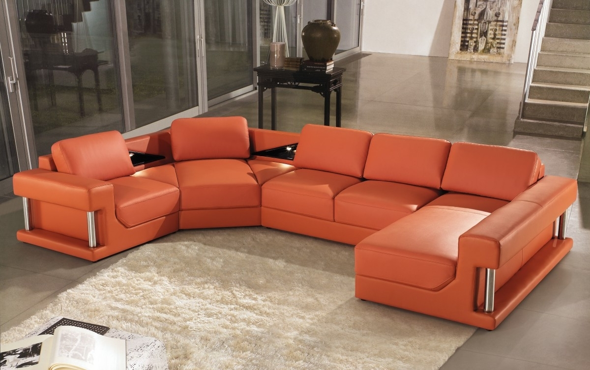 Popular Modern Orange Leather Sectional Sofa Throughout Orange Sectional Sofas (View 15 of 20)