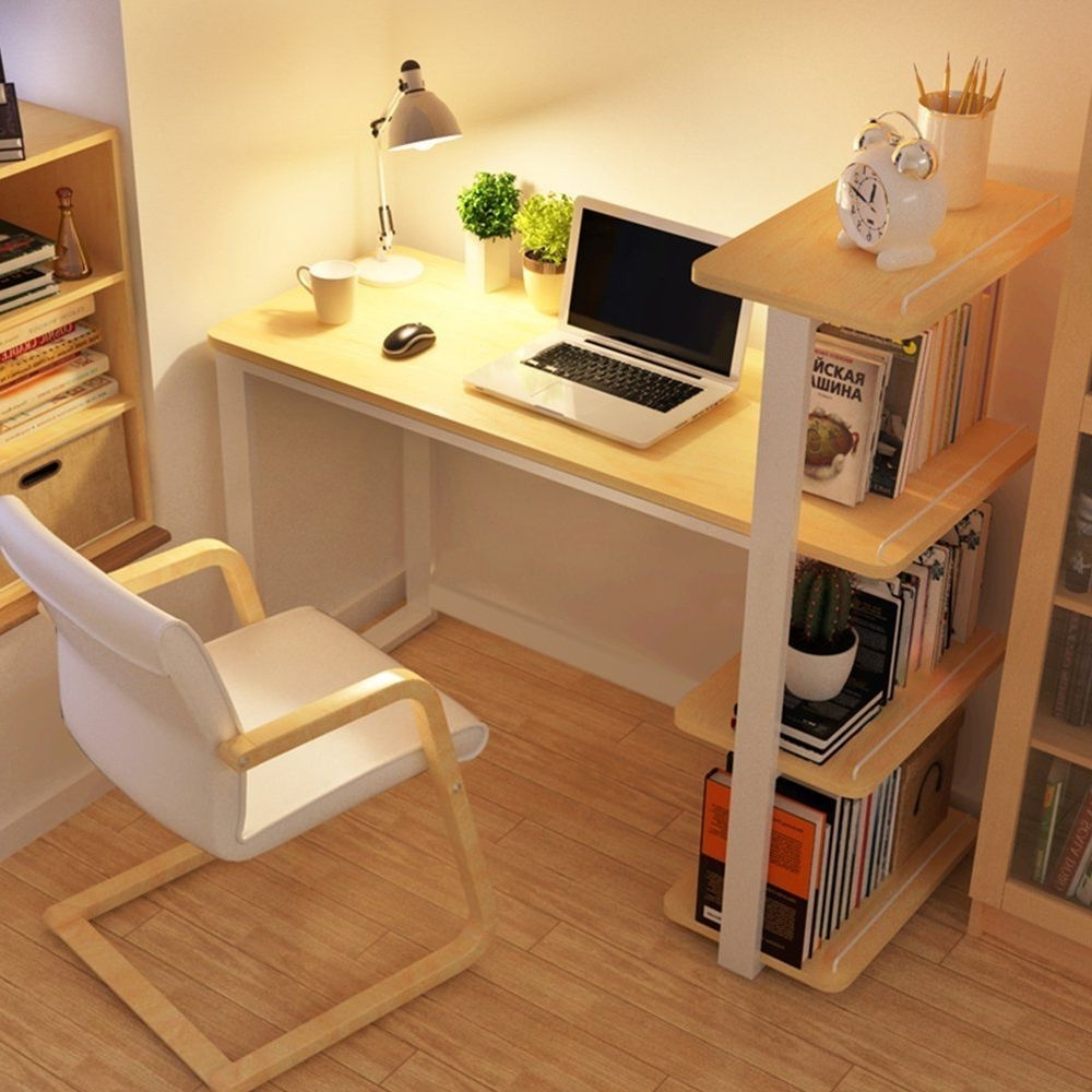 Popular Modern Wood Home Office Desk Corner Computer Pc Table Workstation Pertaining To Computer Desks With Bookshelves (View 8 of 20)