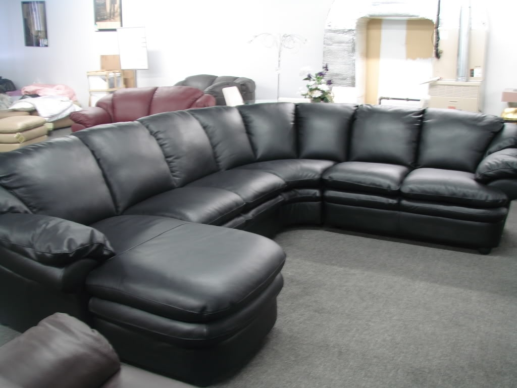 Popular On Sale Sectional Sofas Pertaining To Cozy Black Leather Sofas For Elegant Living Room : Gorgeous (View 14 of 20)
