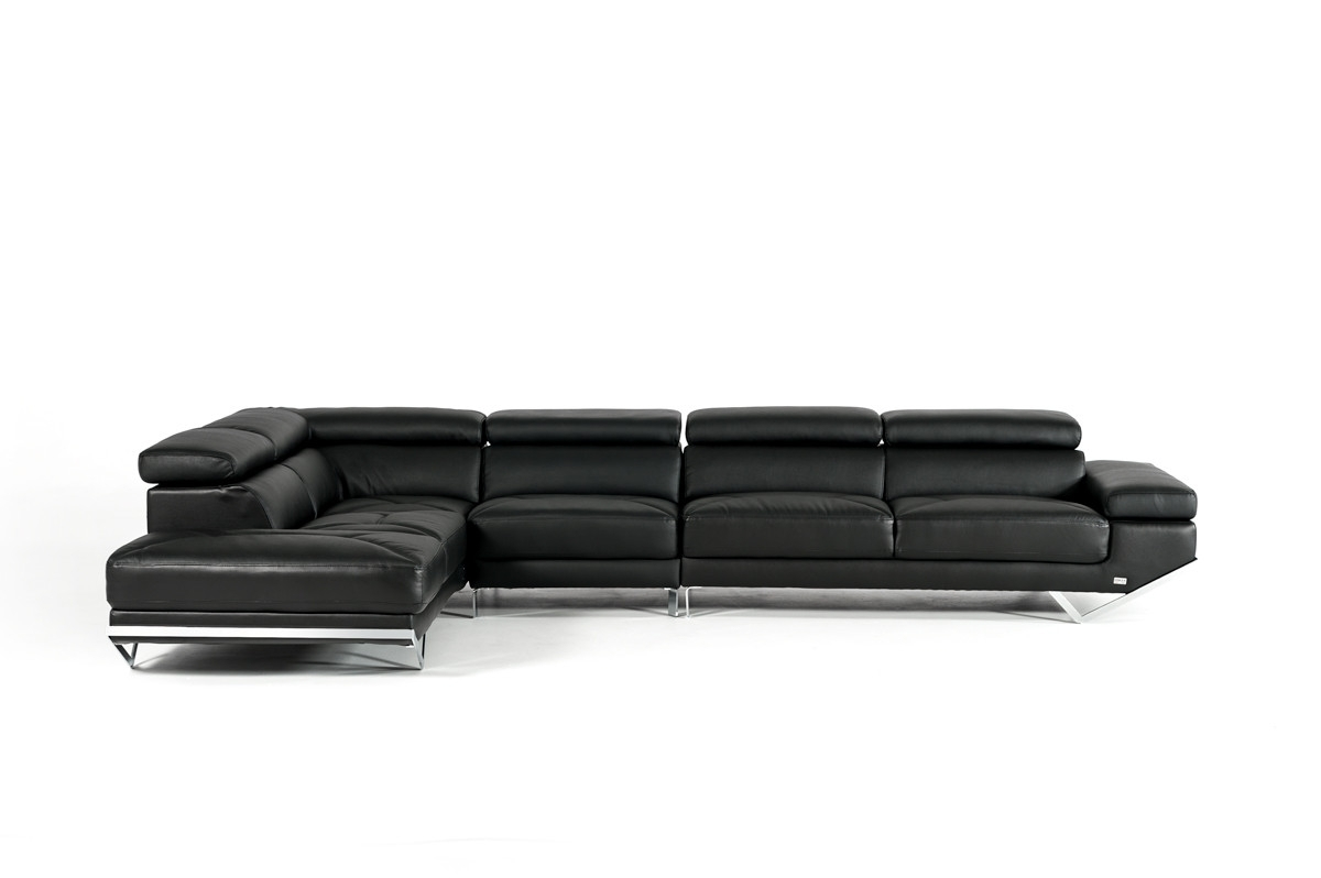Popular Quebec Sectional Sofas Inside Casa Quebec Modern Black Eco Leather Sectional Sofa (View 11 of 20)
