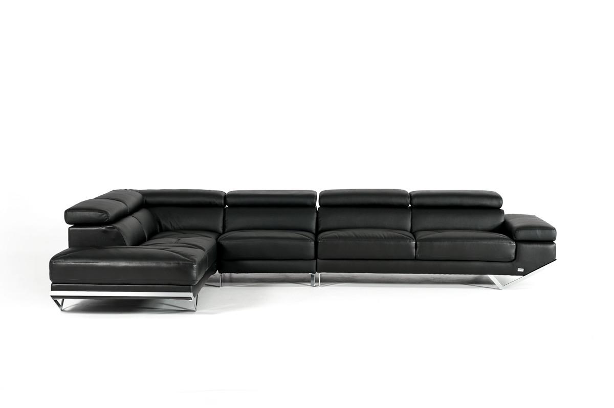 Popular Quebec Sectional Sofas Inside Casa Quebec Modern Black Eco Leather Sectional Sofa (View 5 of 20)