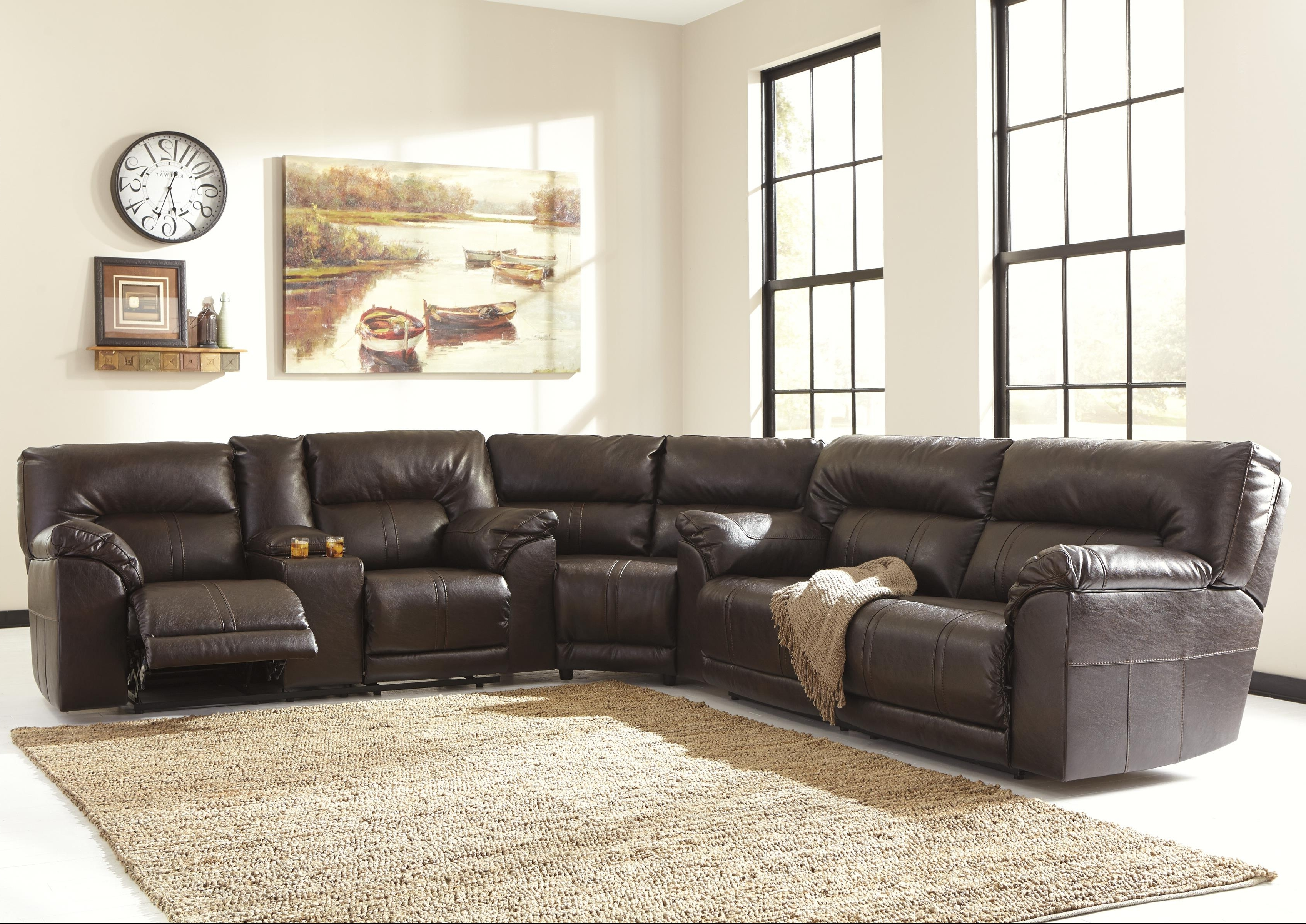 Popular Reclining Sectional Sofas With Benchcraft Barrettsville Durablend® 3 Piece Reclining Sectional (View 4 of 20)