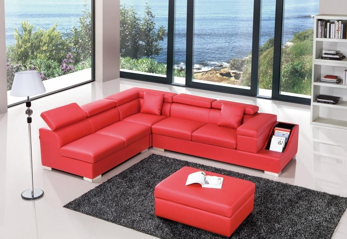 Popular Red Color Sectional Sofa Upholstered In High Quality Leather With Regard To Red Leather Sectional Sofas With Ottoman (View 14 of 20)