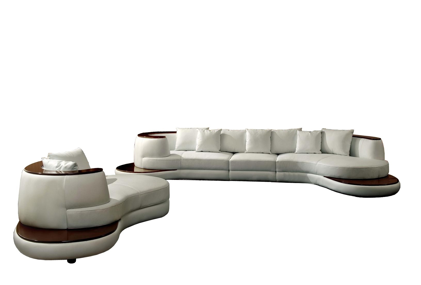 Popular Rounded Sofas Within Divani Casa Rodus – Rounded Corner Leather Sectional Sofa With (View 10 of 20)