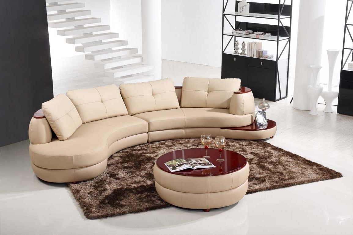 Popular Semicircular Sofas Within Contemporary Beige Leather Sectional Curved Sofa With Round Modern (View 13 of 20)