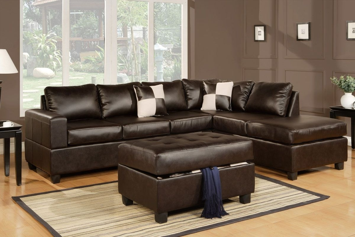 Popular Serene Living Room Decor With Wood Floor And L Shaped Black Within Black Leather Sectionals With Ottoman (View 12 of 20)
