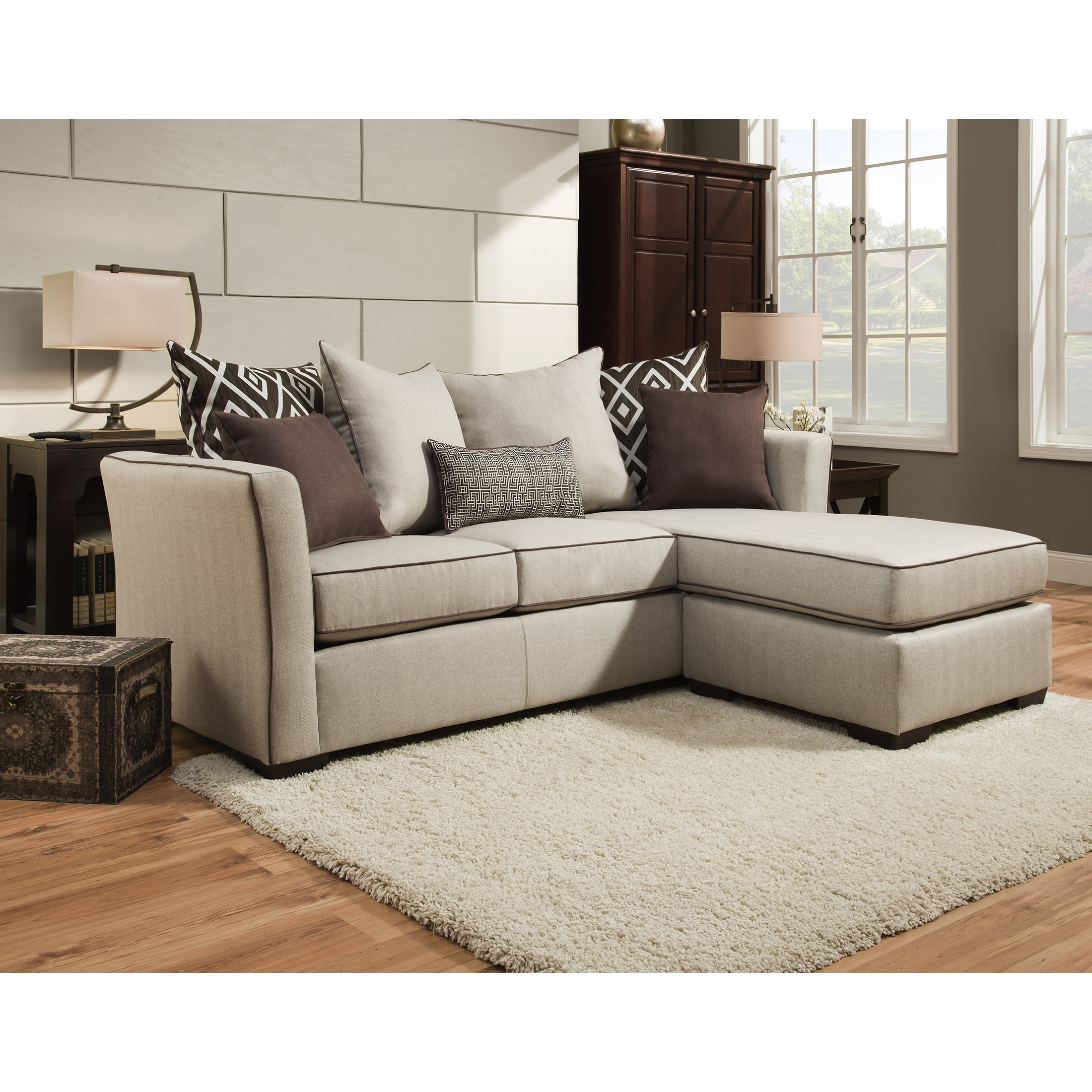 Popular Simmons Upholstery Stewart Sofa Chaise – Free Shipping Today In Simmons Chaise Sofas (View 4 of 20)