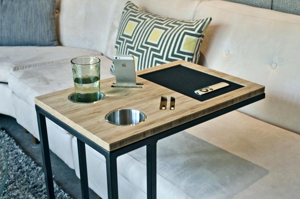 Popular Sofas With Drink Tables For Sofa Caddy S Couch Drink Holder Tutorial – (View 9 of 20)