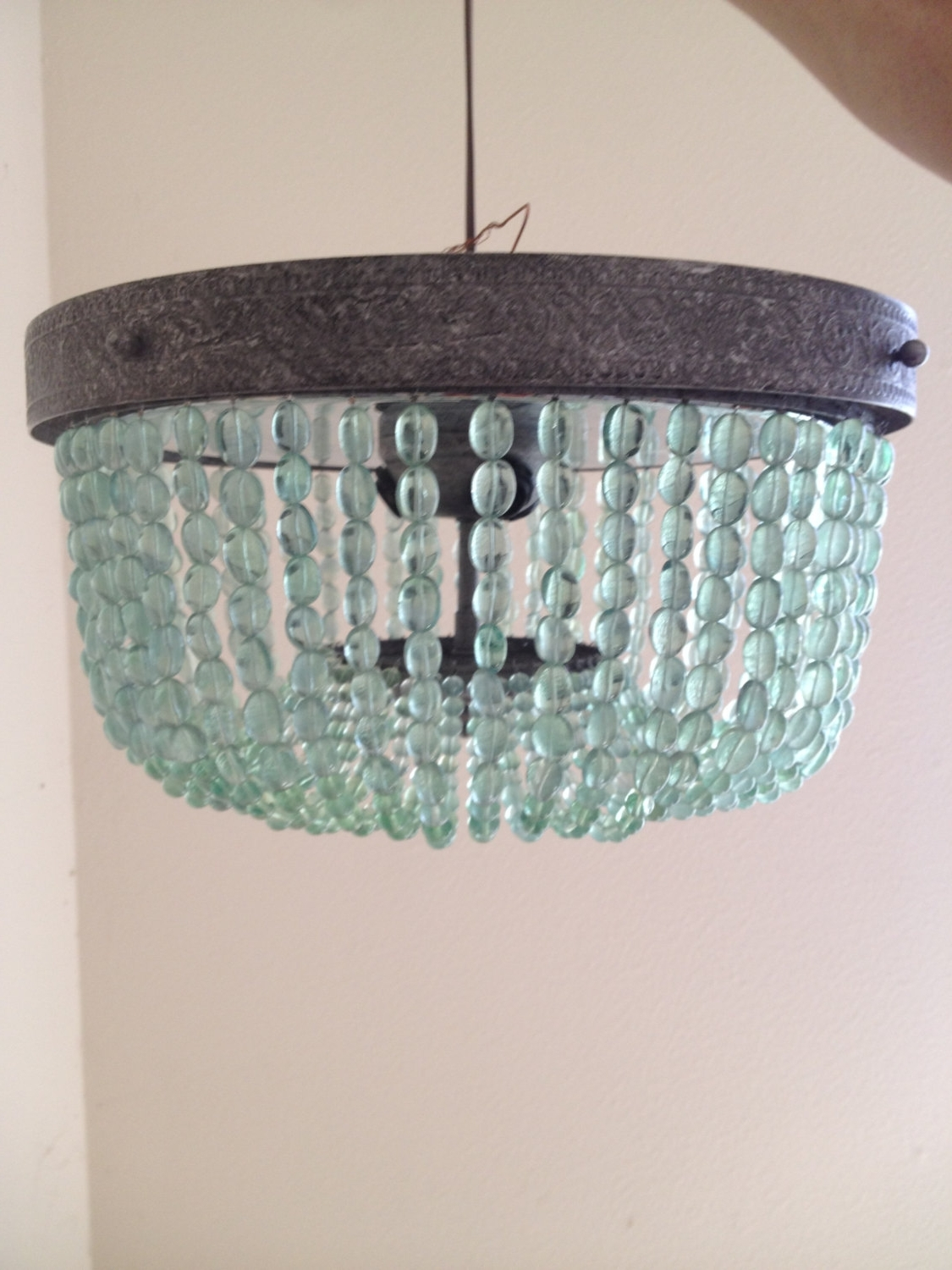 Popular Turquoise Blue Beaded Chandeliers Pertaining To Aqua (Light Turquoise, Green) Vintage Style Beaded Chandelier (View 12 of 20)