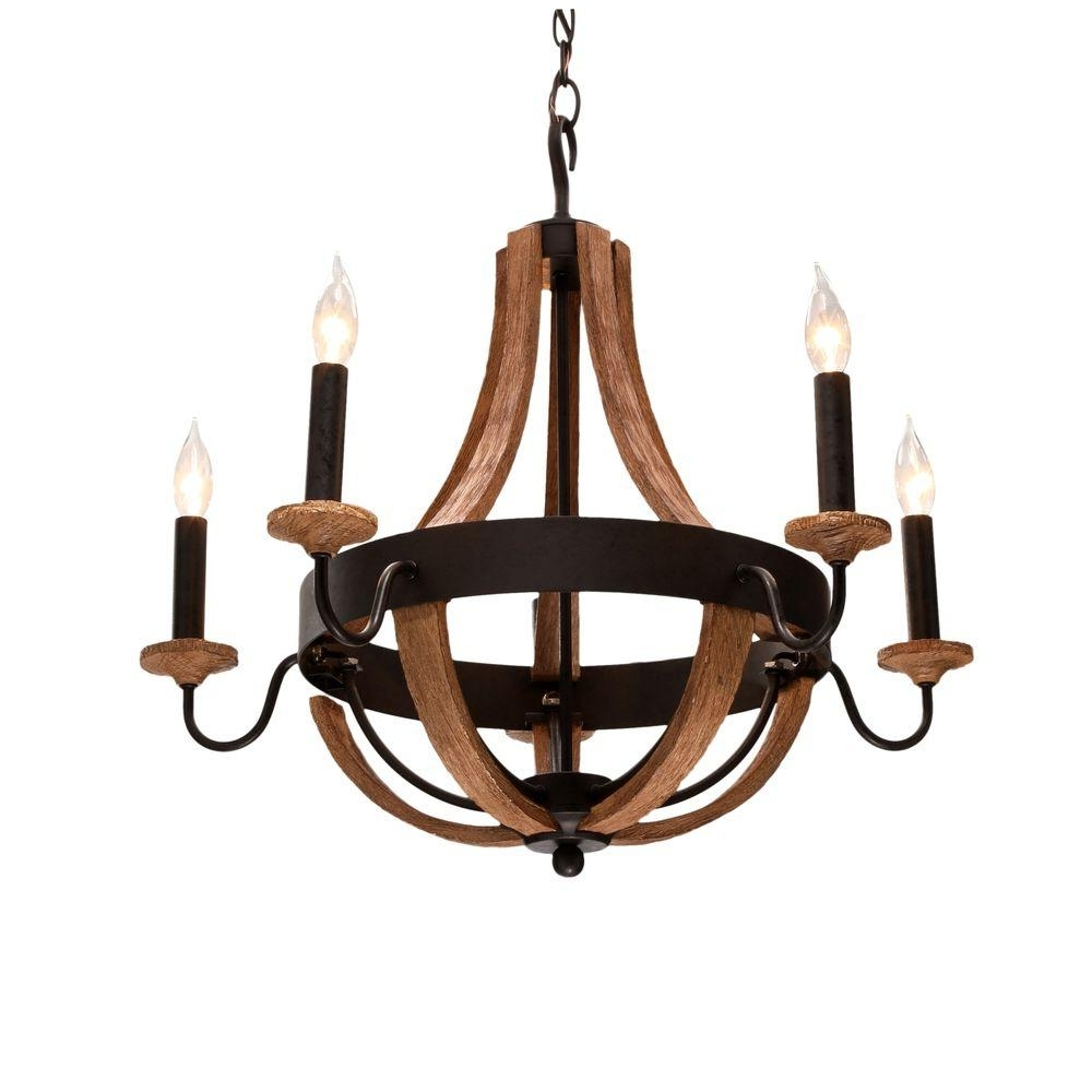 Popular Wooden Chandeliers Pertaining To Wood – Chandeliers – Lighting – The Home Depot (View 10 of 20)