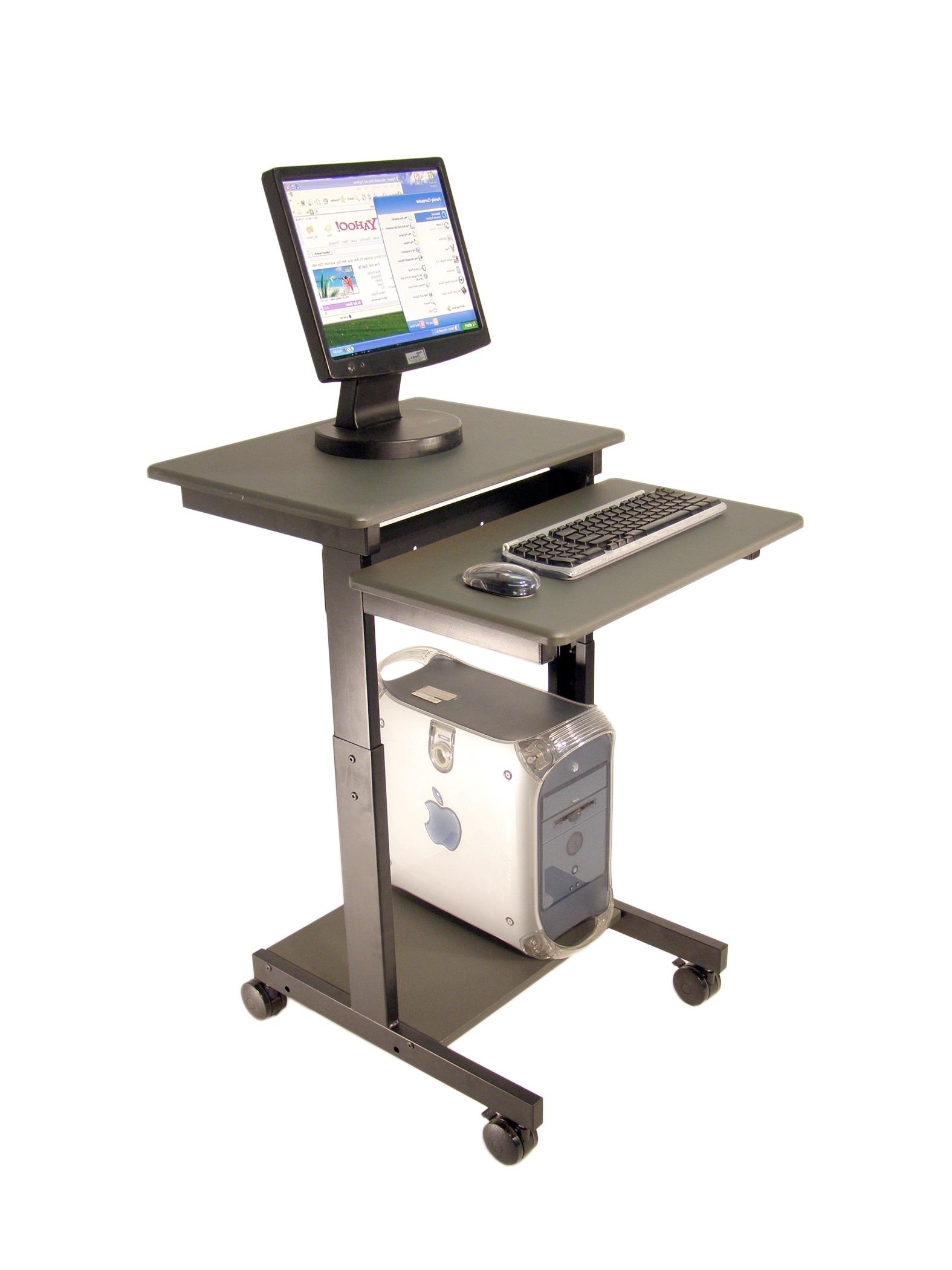 Portable Computer Desks Inside Preferred Charming Computer Stand For Desk On Wheels Pinterest Desks Desktop (View 10 of 20)