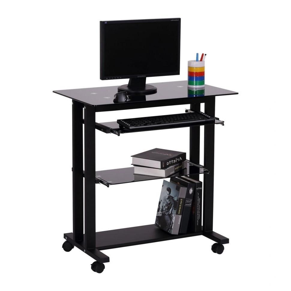 Portable Computer Desks Intended For Preferred Furniture : Pc Desk Mobile Computer Workstation Cart Computer Desk (View 16 of 20)