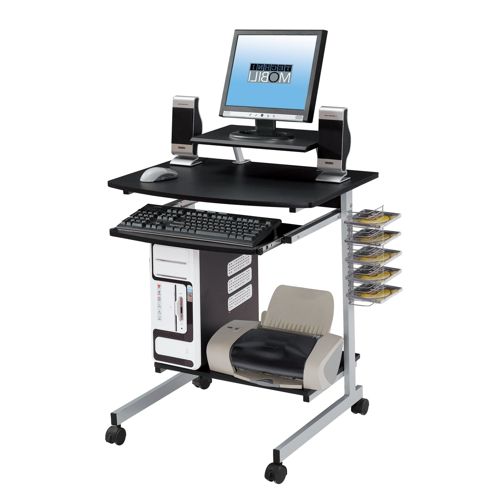 Portable Computer Desks Throughout Well Known Techni Mobili Rolling Computer Desk, Graphite – Walmart (View 12 of 20)