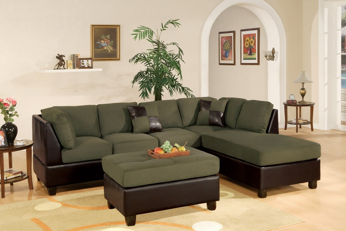 Poundex F7620 Sage Reversible Sectional Sofa With Ottoman Inside Most Current Sectionals With Ottoman (View 9 of 20)