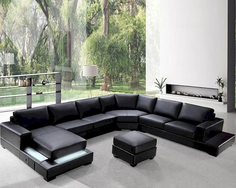 Preferred Black Sectional Sofas Alluring Black Leather Sectional Sofa – Home Regarding Black Sectional Sofas (View 16 of 20)