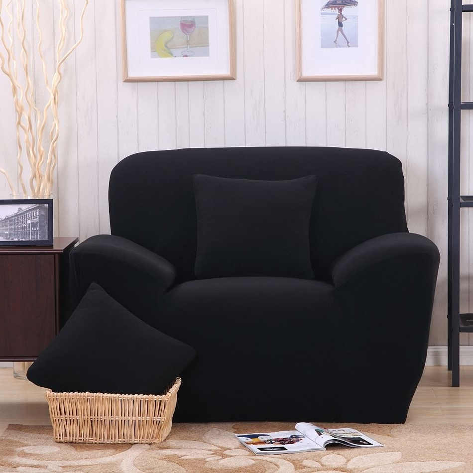 Preferred Cheap Single Sofas With Regard To Black Sofa Cover/fabric Cover Sofa Slipcover Stretch Fabric L (View 14 of 20)