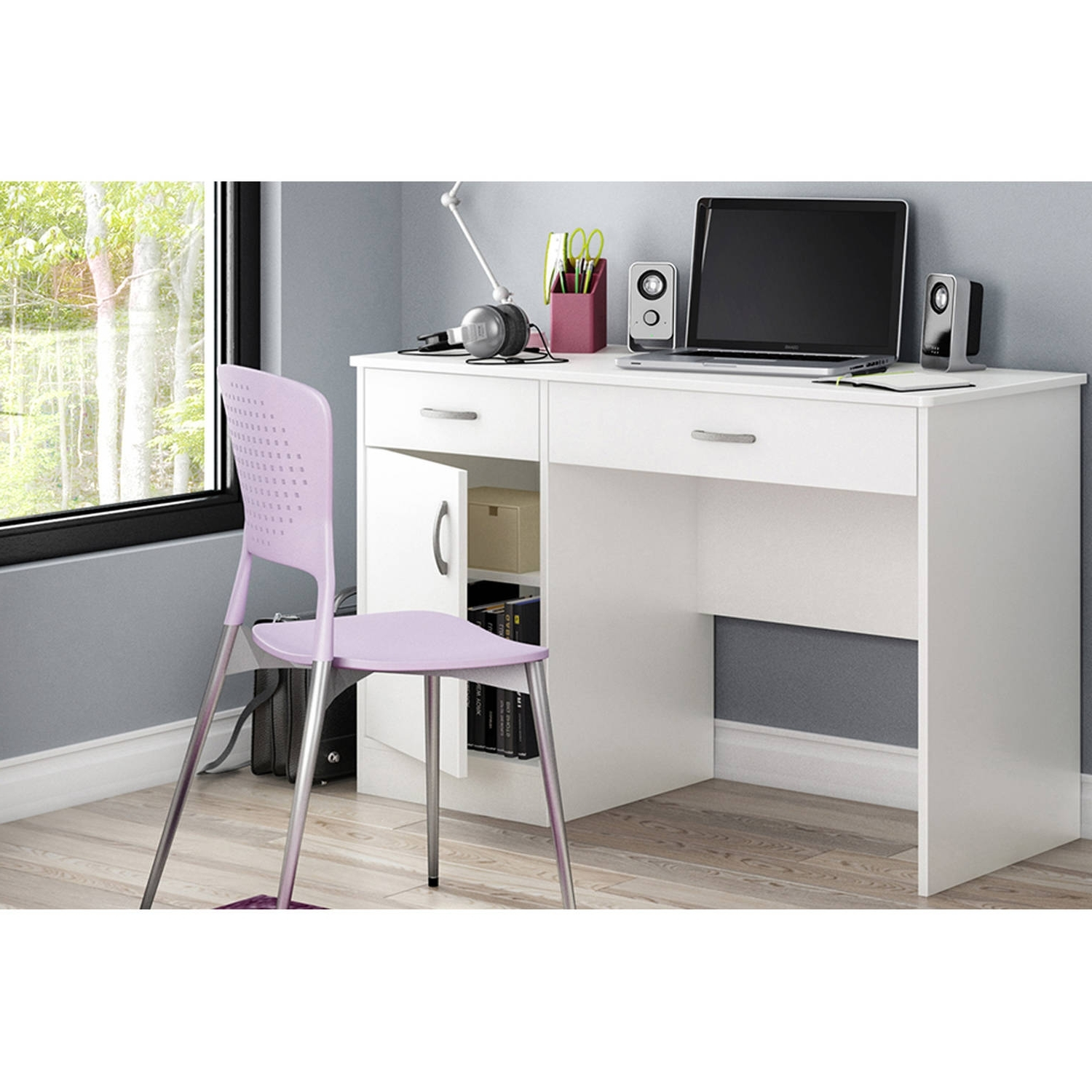 Preferred Computer Desks At Walmart For South Shore Smart Basics Small Work Desk, Multiple Finishes (View 17 of 20)