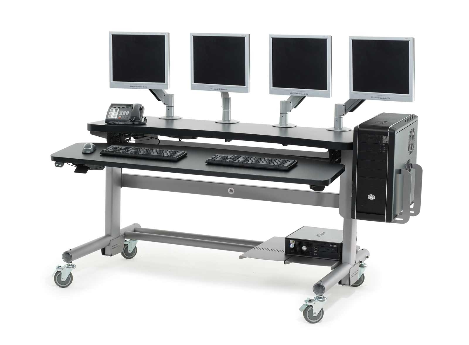 Preferred Computer Desks With Wheels Within Anthro Adjustable Height Modular Computer Desks (View 15 of 20)