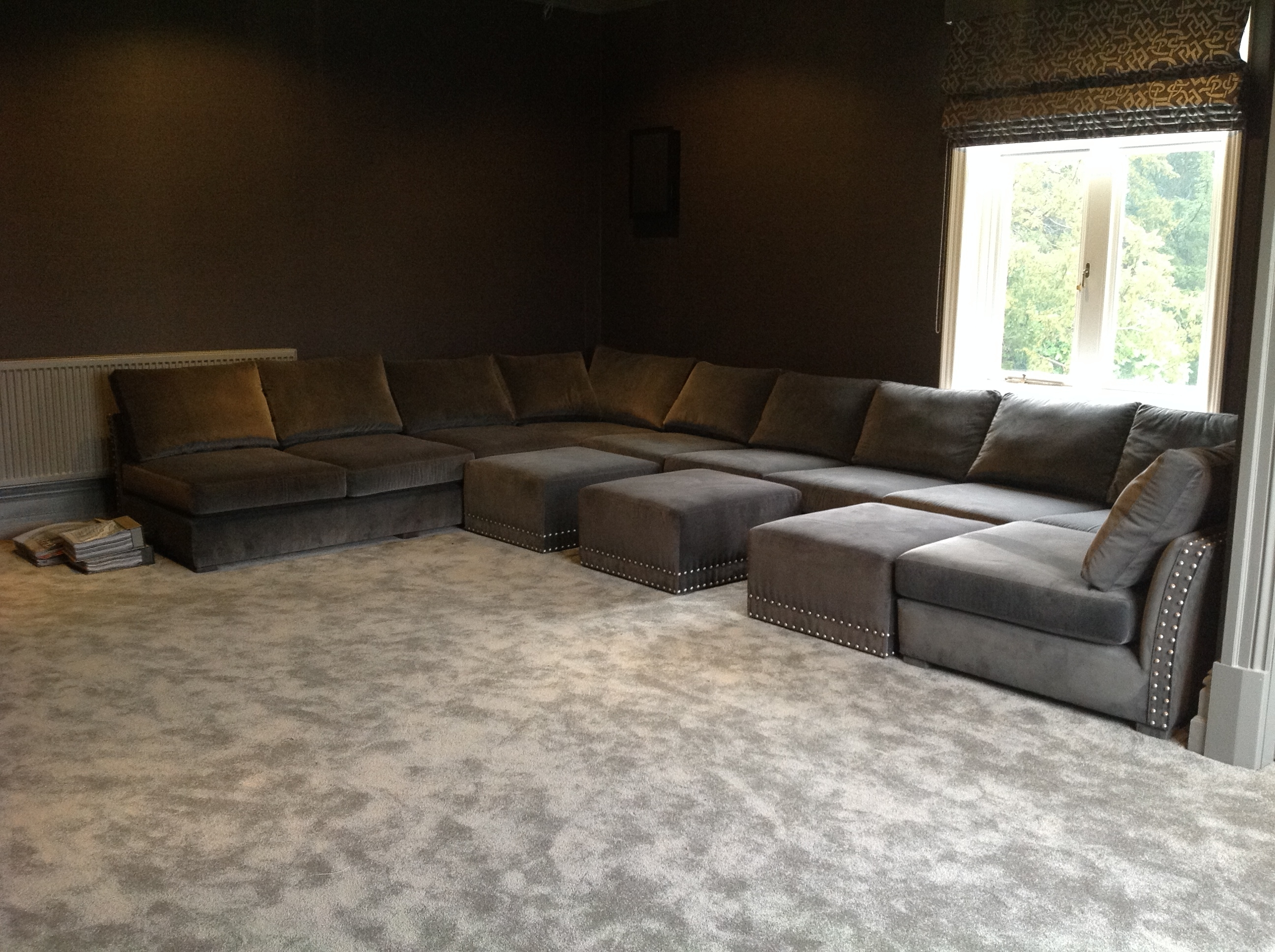 Preferred Deep U Shaped Sectionals Pertaining To Cinema U Shape Sofa – Deep And Slouchy With Wheeled Pull Up (View 13 of 20)