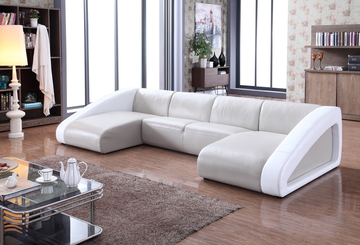 Preferred Divani Casa Pratt Modern Grey White Leather Sectional Sofa Curved Within Modern Sofas (View 8 of 20)