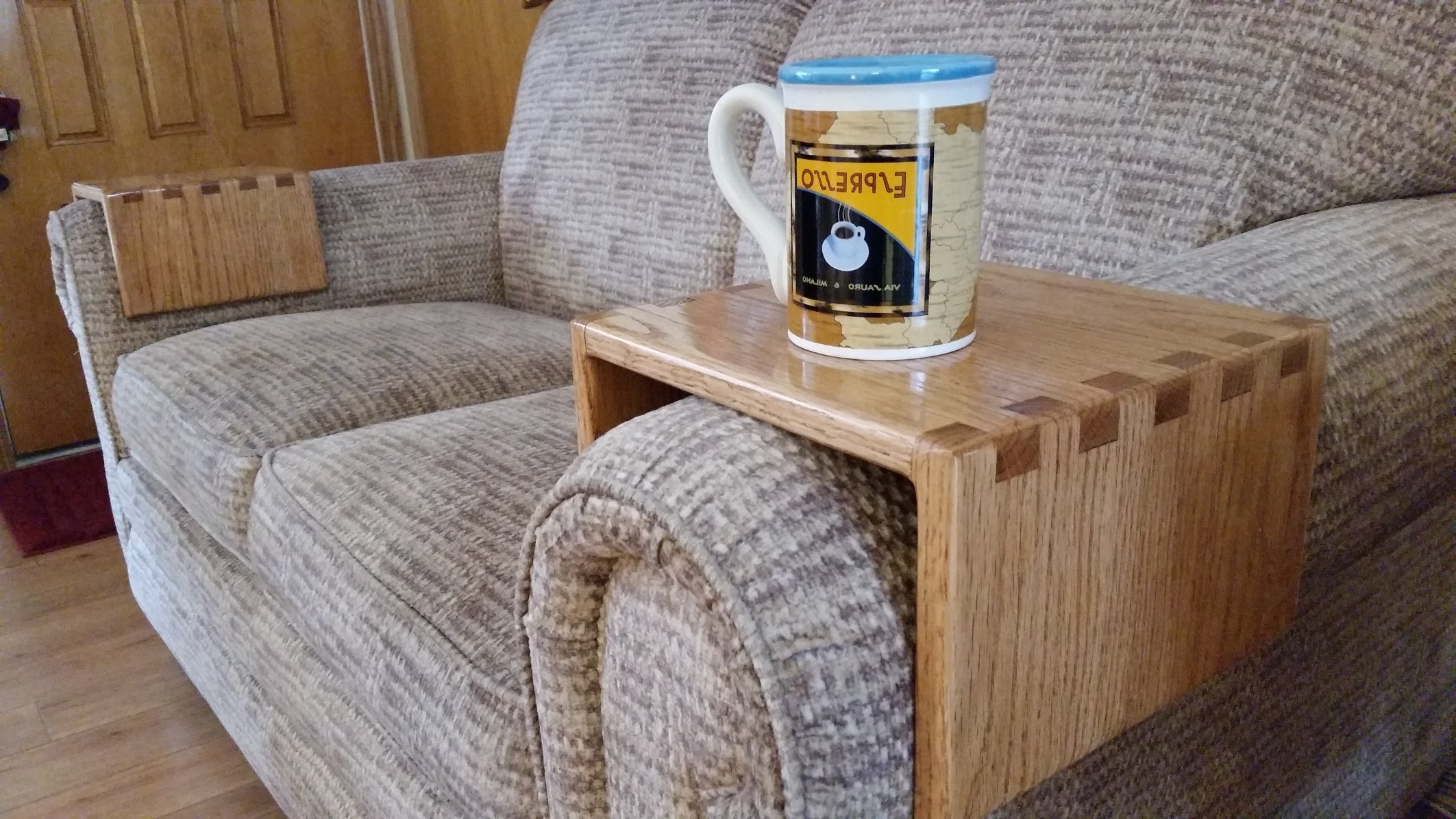 Preferred Diy – Sofa Drink Holder Using Simple Box Joints – Youtube For Sofas With Drink Tables (View 2 of 20)