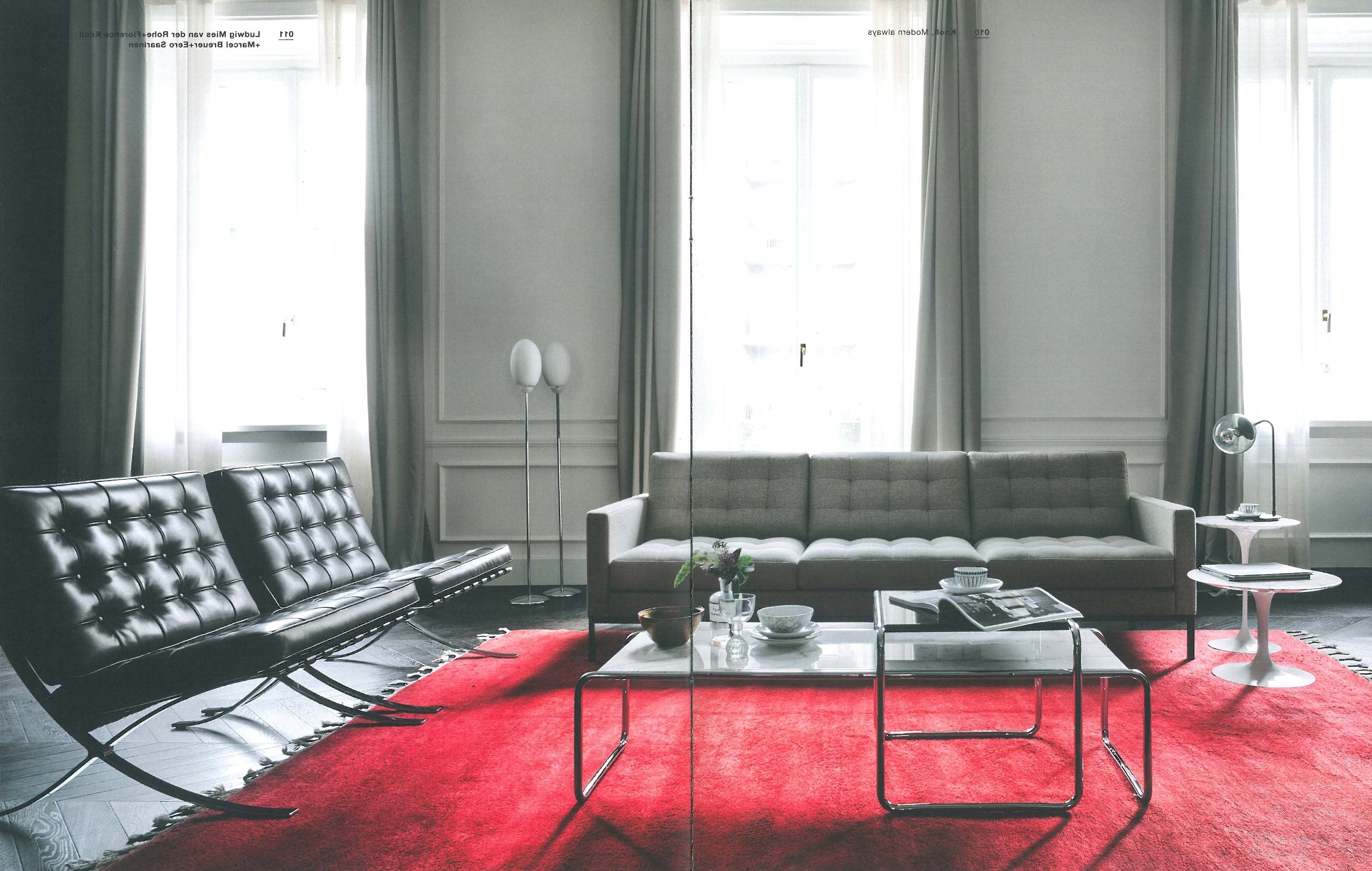 Preferred Florence Knoll Living Room Sofas Throughout Florence Knoll Sofa + Barcelona Chairs + Tulip Side Tables + (Gallery 11 of 20)