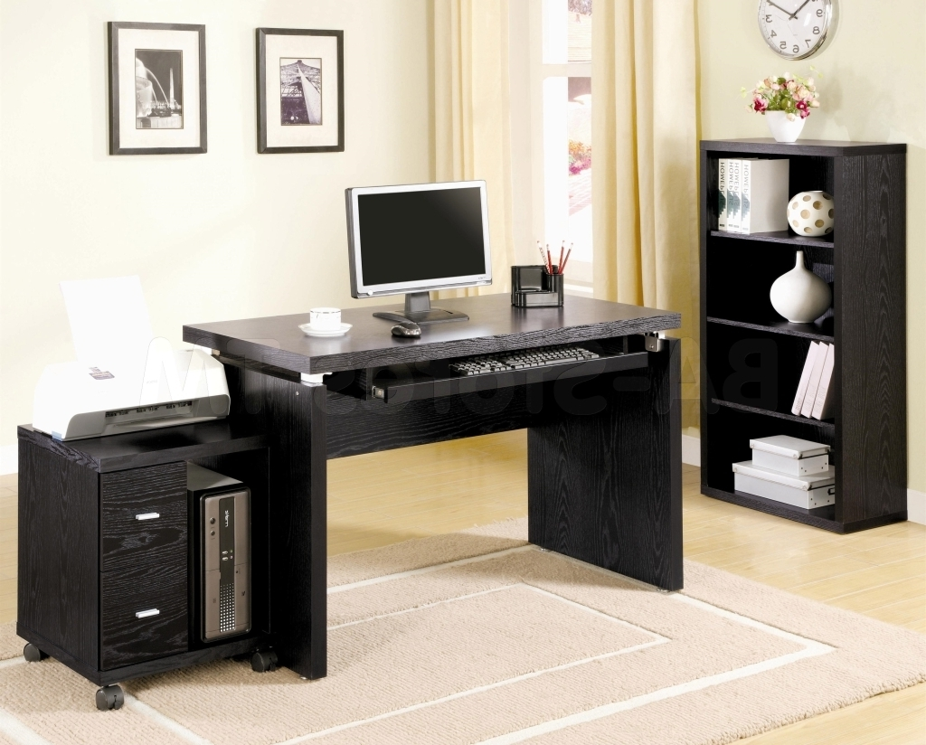 Preferred Furniture: Black Computer Desk For Home Made Of Wooden Materials With Regard To Black Computer Desks (View 17 of 20)