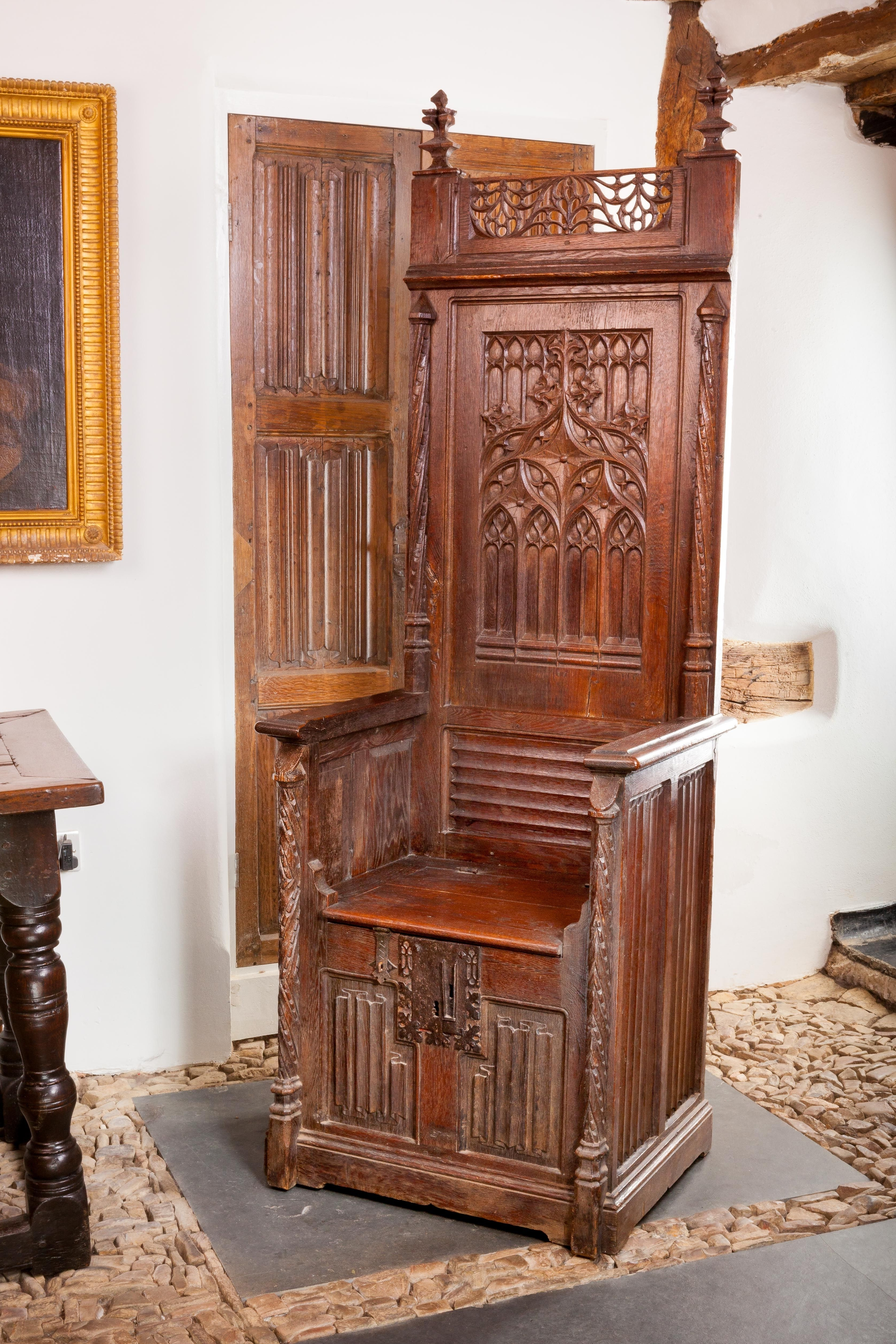 Preferred Gothic Throne Chair, Circa 1460 – 1480, Marhamchurch Antiques With Regard To Gothic Sofas (View 15 of 20)