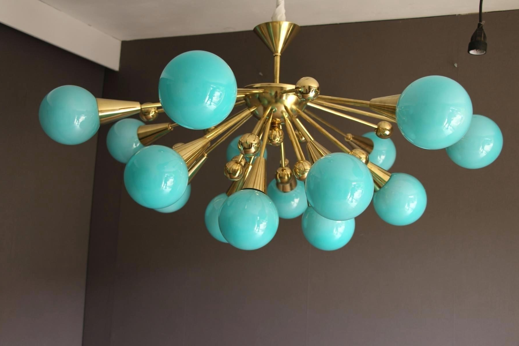 Preferred Hand Blown Glass Lamp Shades Six Arms Turquoise With Gold Flecks Regarding Turquoise Blown Glass Chandeliers (View 8 of 20)