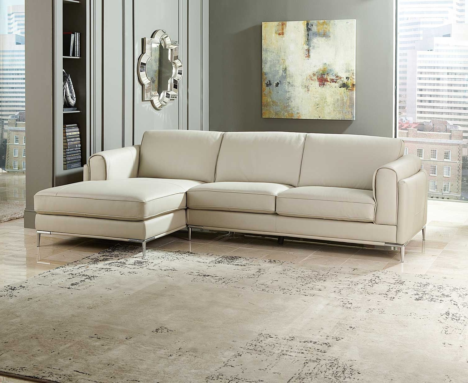 Preferred Homelegance Hugo Sectional Sofa – Beige Top Grain Leather & Split For Beige Sectional Sofas (View 8 of 20)