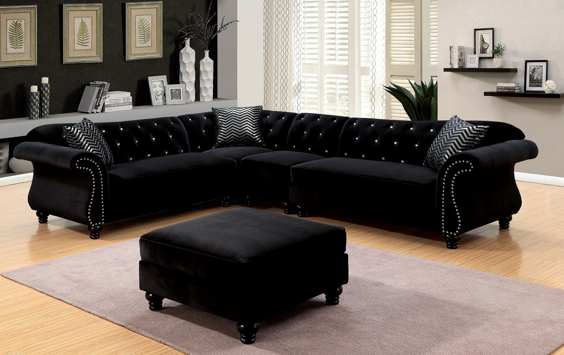 Preferred Jolanda Black Sectional Sofa Cm6158Bk Furniture Of America In Black Sectional Sofas (View 16 of 20)
