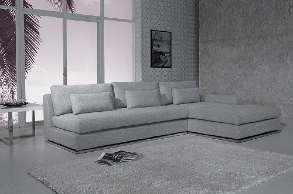 Preferred Light Grey Sectional Sofas Within Ash Modern Fabric Sectional Sofa (View 7 of 20)