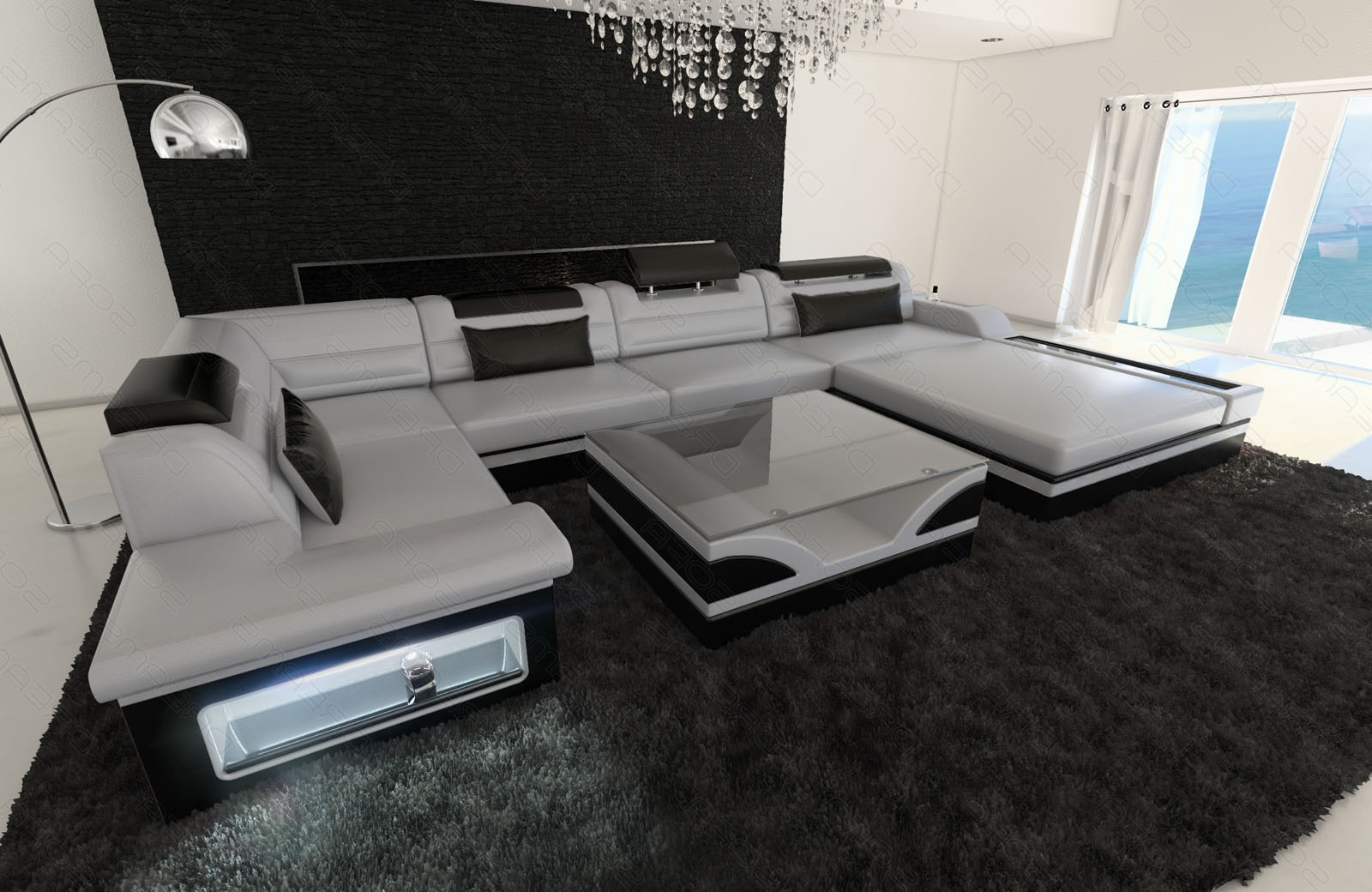 Preferred Luxury Sectional Sofas With Luxury Sectional Sofa Mezzo U With Led Lights Leather Sofa (View 15 of 20)