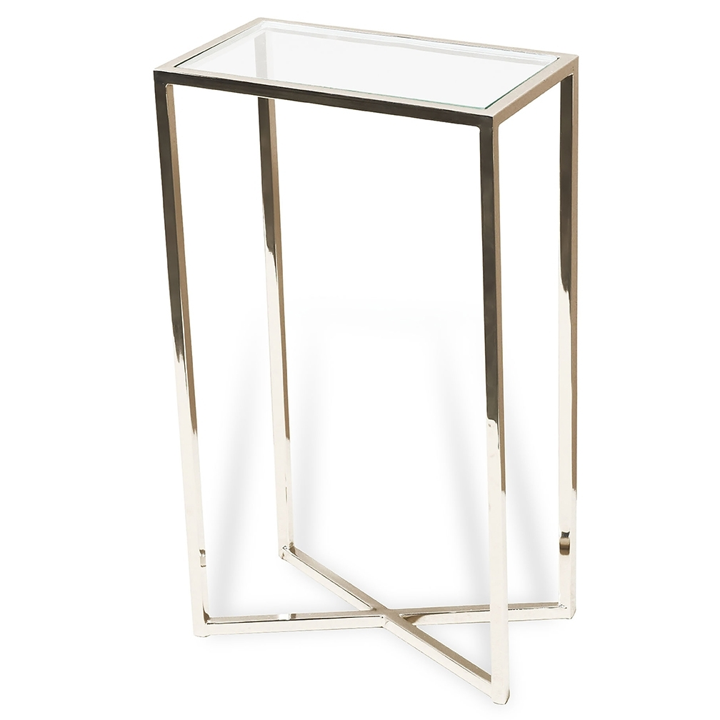 Preferred Martini Rectangle Drink Table – Luxe Home Company Regarding Sofas With Drink Tables (View 15 of 20)