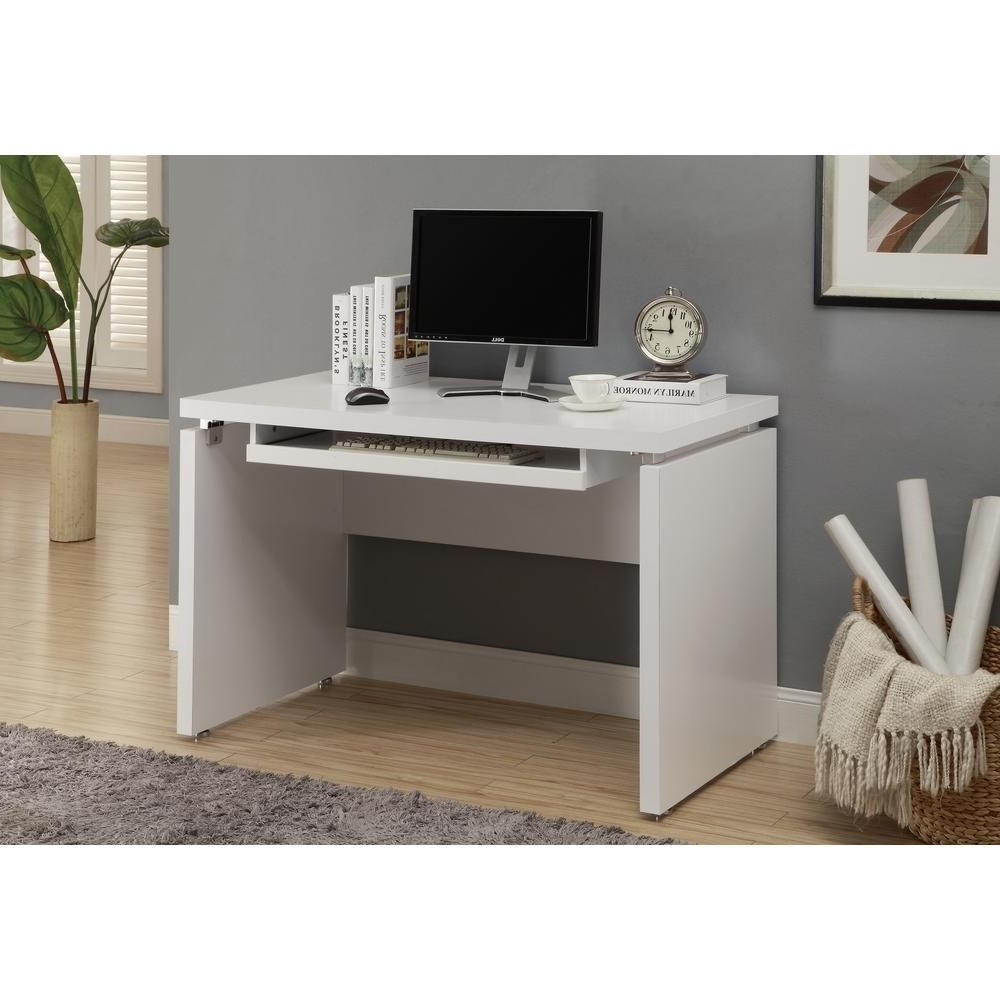 Preferred Matte White Desk With Keyboard Tray (View 3 of 20)