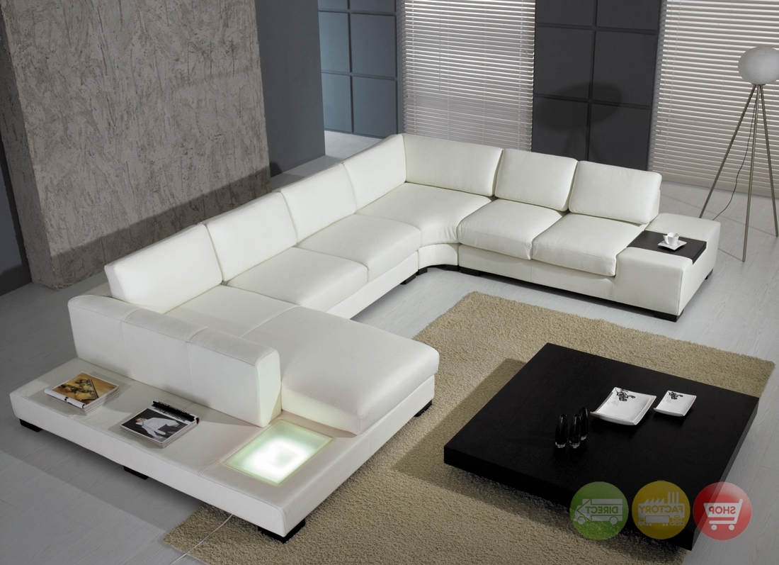 Preferred Modern White Top Grain Leather Modular Sectional Sofa Contemporary Within Sectional Sofas At Ebay (View 8 of 20)