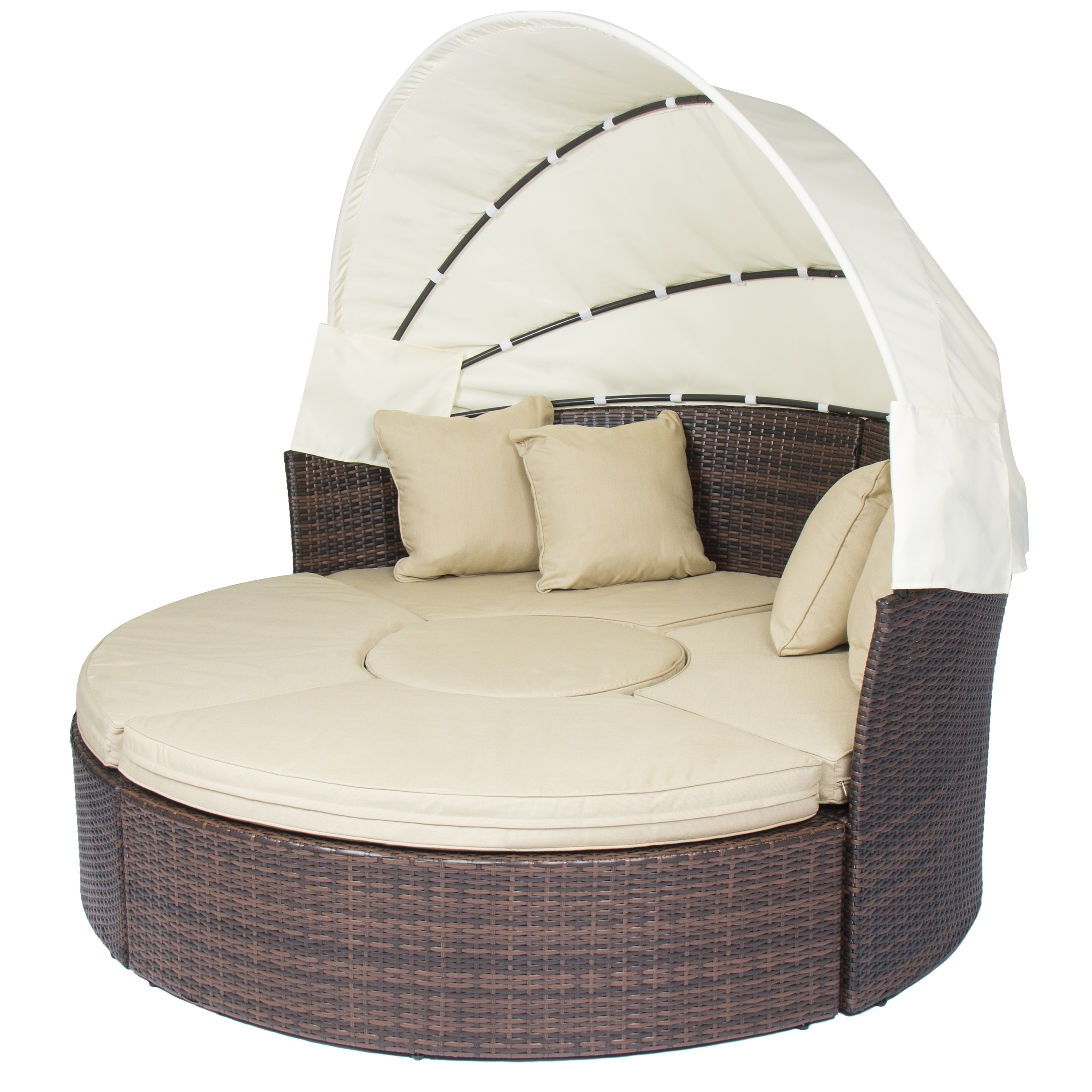 Preferred Outdoor Patio Sofa Furniture Round Retractable Canopy Daybed Brown With Outdoor Sofas With Canopy (View 13 of 20)