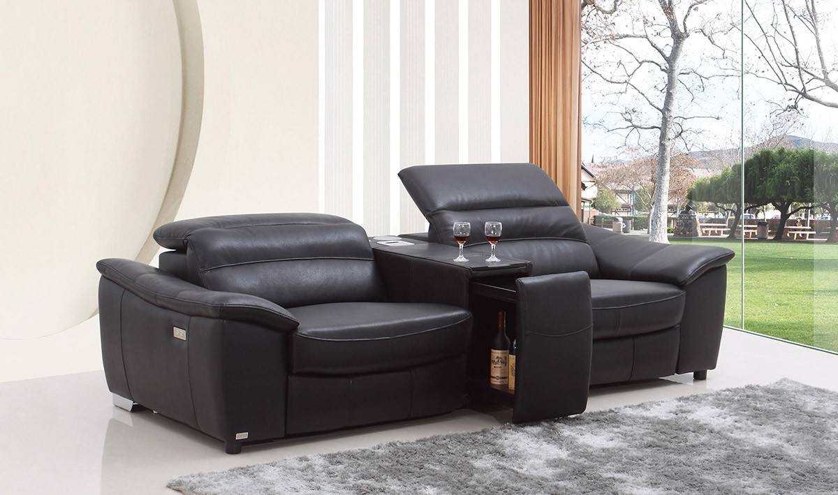 Preferred Recliner Sofas Pertaining To Casa Donovan Modern Black Italian Leather Recliner Sofa With Wine (View 9 of 17)