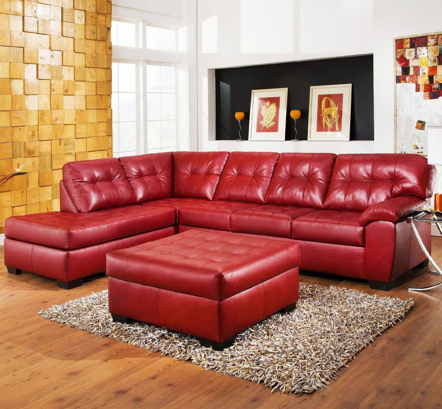Preferred Red Leather Sectional Sofas With Ottoman Pertaining To Red Couch: Red Leather Sectional Couch (View 15 of 20)
