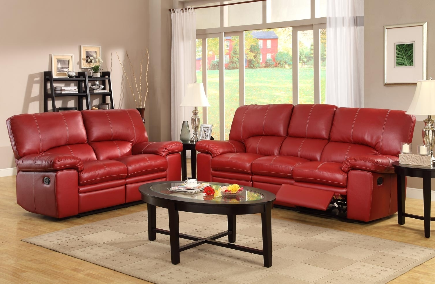 Preferred Red Leather Sofa Set Inside Great 75 In Living Room Ideas With Throughout Red Leather Reclining Sofas And Loveseats (View 4 of 20)