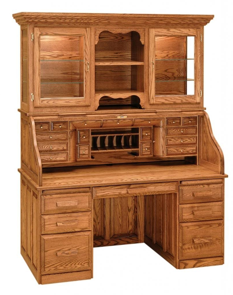 Preferred Roll Top Computer Desks With Luxury Amish Rolltop Desk Hutch Office Furniture Solid Wood Oak (View 3 of 20)
