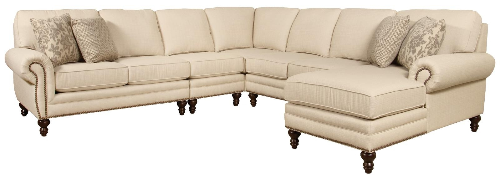 Preferred Sectional Sofas With Nailhead Trim For England Amix Seven Seat Sectional Sofa With Left Side Chaise (View 11 of 20)