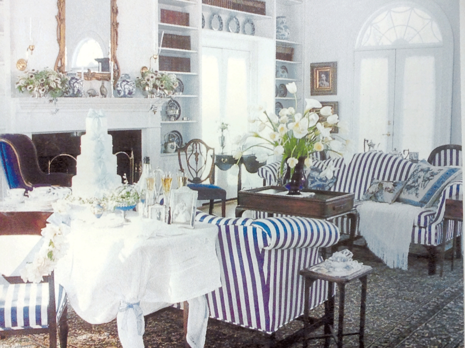 Preferred Striped Sofas And Chairs Throughout A Traditional Living Room With Navy & White Striped Sofas And Blue (View 13 of 20)
