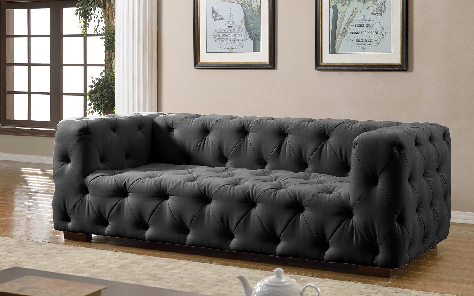 Preferred Tufted Linen Sofas Inside Luxurious Modern Large Tufted Linen Fabric Sofa – Walmart (View 8 of 20)