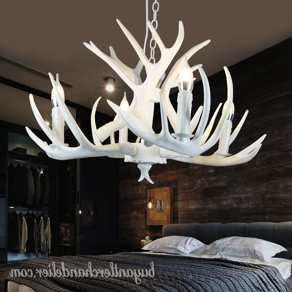 Pure White Deer Antler Chandelier Ceiling Lights Bedroom Lighting With Trendy White Antler Chandelier (View 4 of 20)